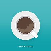 Coffee cup icon in modern flat style. Top view of a cup of coffee with saucer. Vector illustration