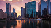 The Chicago River. Downtown Chicago. Sunrise at Riverwalk. Panorama.