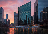 Downtown Chicago, USA. The Chicago River. Sunrise cityscape.