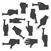 Hand press button vector silhouette finger control start up arm push pointer cursor target gesture internet human body part illustration.