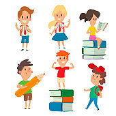 Children studying school kids going study together childhood happy primary education character vector