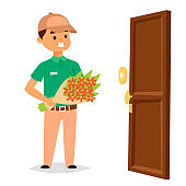 Delivery man boy vector service workers and clients couriers delivering man characters shop mailmen bringing packages holding boxes documents illustration. Postman worker male conveyance