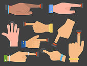 Hand press red button vector finger control start up arm push pointer cursor target gesture internet human body part illustration