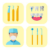Dentist doctor character and stomatology equipment medicine instrument vector illustration