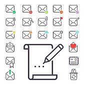 Email letter vector icons set envelope cover communication correspondence blank address outline mailbox design paper empty card writing message illustration. Mailing concept
