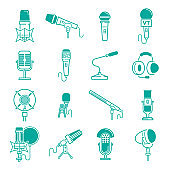 Microphone vector musical radio studio records icons audio dictaphone, microphones podcast webcast broadcast or music record broadcasting mike set illustration isolated on background