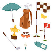 Golf icons hobby equipment cart player golfing sport symbol flag hole game elements vector illustration