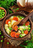 Soup with green peas