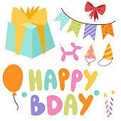 Happy birthday party celebration entertainment confetti present balloon decoration for holiday fun anniversary congratulation vector illustration