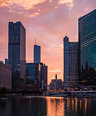 The Chicago River. Downtown, morning cityscape. Chicago, USA