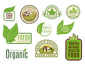 Organic vegan vector symbol labels healthy food eco restaurant symbol badges nature diet product illustration