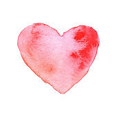 Watercolor brush painted red heart. Vector heart shape hand drawing, painting.
