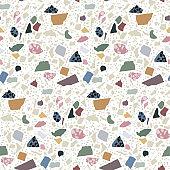 Terrazzo flooring seamless pattern. Abstract geometric background. Natural pebble, stone, glass, granite, quartz, marble collage.