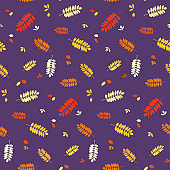 Seamless autumn pattern with colorful red, orange, yellow acacia leaves silhouettes.
