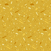 Terrazzo flooring seamless pattern. Abstract geometric background in golden colors. Natural stone, glass, granite, quartz, marble collage.