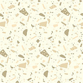 Terrazzo flooring mosaic seamless pattern in gold colors. Abstract geometric background. Natural pebble, stone, glass, granite, quartz collage.