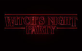 Witch's night party text design, Halloween word with Red glow text on black background. 80's style, eighties design. Vector illustration