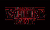 Halloween Vampire party text design, Halloween word with Red glow text on black background. 80's style, eighties design. Vector illustration