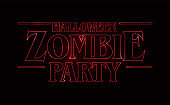 Zombie party text design, Halloween word with Red glow text on black background. 80's style, eighties design. Vector illustration