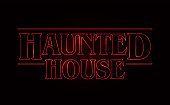 Haunted House text design, Happy Halloween word with Red glow text on black background. 80's style, eighties design. Vector illustration