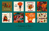 Set of cute autumn illustrations. Vector templates