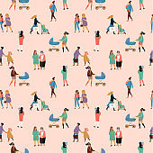 Happy Mothers Day. Vector seamless pattern with women and children.