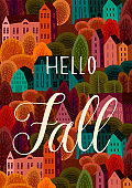 Autumn design with autumn city. Vector template for card, poster, flyer, cover and other use.