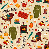 Autumn seamless pattern with homely cute things. Vector design