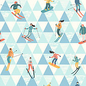Vector illustration of skiers and snowboarders. Seamless pattern.