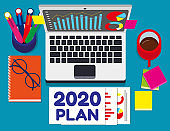 2020 plan text. Concept business vector illustration, office accessories, Top view from above.