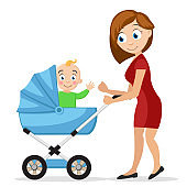 Mother with a little child in a baby carriage on a white background. Characters