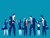Business team talk and consult. Concept business vector illustration, Teamwork, Planning.