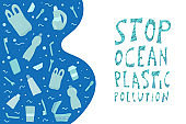 Stop ocean plastic pollution. Vector stylized text