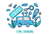 Car sharing concept. Vector flat text and decor.