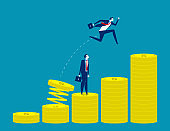 Growth for business. Concept business vector illustration, Jumping, Achievement, Successful