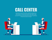 Cartoon characters for call center. Concept business vector, Online telephone, Support service, Consultant.
