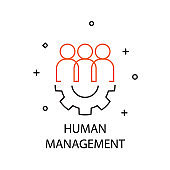 Human Management. Creative Idea Business Concept. Modern Flat thin line icon designed vector illustration.