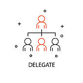 Delegate. Creative Idea Business Concept. Modern Flat thin line icon designed vector illustration.