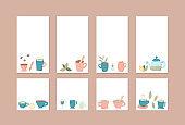 Tea set. Cups and teapots. Vector illustration.