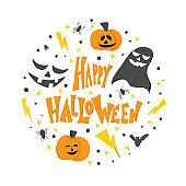 Happy halloween flat signs. Vector simple design.