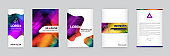 Set of Visual identity with letter elements trendy colorful style. Letterhead and gradient mesh. Smooth Design. Fictitious names. Brochure Template for business.