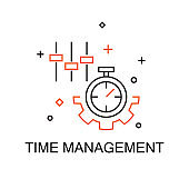 Time Management. Creative Idea Business Concept. Modern Flat thin line icon designed vector illustration.