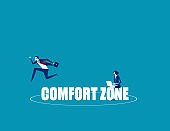 Business person jumping out comfort zone. Concept business vector, Outside, Freedom, Exit