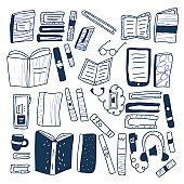 Set of books in doodle style. Vector illustration.