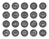 Set of Minimal Weather Related Vector Line Icons. Contains Icons like Wind, Blizzard, Sun, Rain and more. Stroke Style. Pixel Perfect.