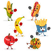 Fruits fight with fast food on a white. Healthy food, characters.