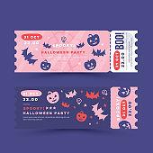 Halloween party invitation, ticket design. Pumkin, ghost decor. Spooky flyer collection