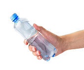 Water bottle in hand isolated, on a white.
