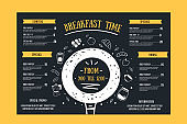 Breakfast menu, restaurant template on chalkboard. Blackboard poster with doodle icons with alarm, fruit, plate, croissant