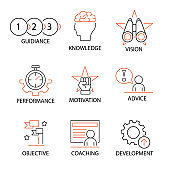 Modern Flat thin line Icon Set in Concept of Business, Mentoring, Coaching and Human Management. Editable Stroke.
